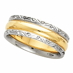 14k Two Tone 6mm Comfort Fit Wedding Band