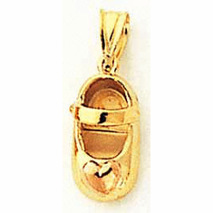 14k Two-tone Baby Shoe Charm