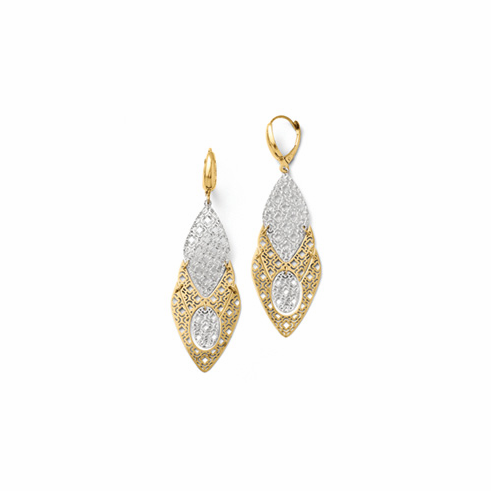 14k Two-tone Fancy Leverback Earrings