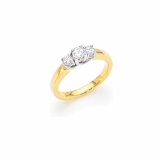 14k Two-tone Gold 3-Stone Diamond Ring