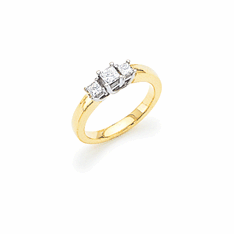 14K Two-tone Gold Princess-cut Three-Stone Diamond Ring