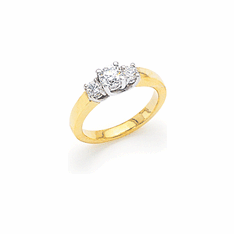 14K Two-tone Gold Round Three-Stone Diamond Ring