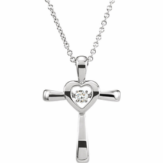 "14K White .08 CTW Diamond Heart Cross 18"" Mystara® Necklace"