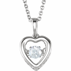 "14K White 1/6 CT Diamond Heart 18"" Mystara® Necklace"