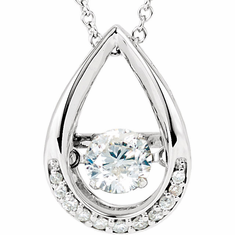 "14K White 1/8 ct tw Diamond 18"" Mystara® Necklace"