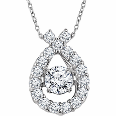"14K White 3/8 CTW Diamond 16-18"" Mystara® Necklace"