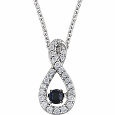 "14K White Blue Sapphire & 1/6 CTW Diamond 18"" Mystara® Necklace"