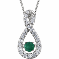 "14K White Emerald & 1/6 CTW Diamond 18"" Mystara® Necklace"