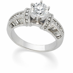 14k White Gold 1ct. Retro-Antique Style Semi Set Diamond Engagement Ring