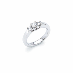 14k White Gold 3 Stone 1/2ct Diamond Ring