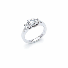14k White Gold 3-Stone 1 Carat Diamond Ring