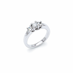 14k White Gold 3-Stone 3/4ct. Diamond Ring