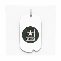 14k White Gold Army Star Dogtag Charm