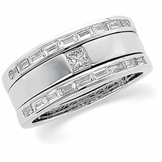 14k White Gold DIAMOND BRIDAL RING and Band