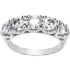 14k White Gold  Moissanite Anniversary Band