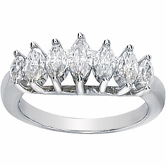 14k White Gold Moissanite Anniversary Ring