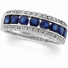 14k White Gold Sapphire and Diamond Bridal Anniversary Band