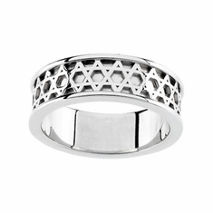 14k White Gold STAR OF DAVID WEDDING BAND