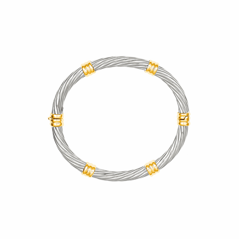 14k White Gold Twist Bangle