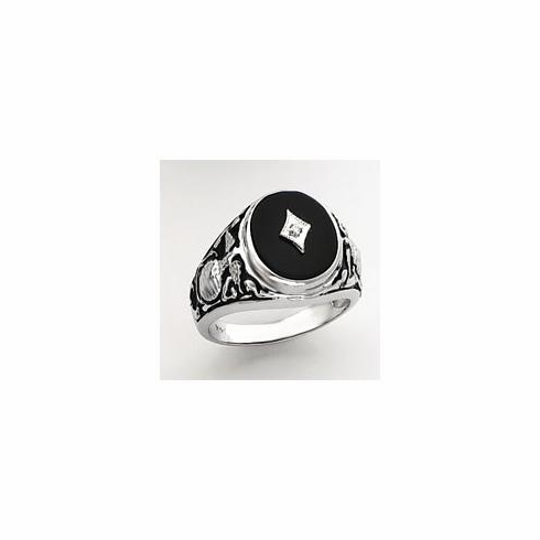 14k White Gold United States Marines Onyx and Diamond Military Ring