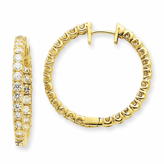 14K White or Yellow Gold 2.50ct Diamond Inside-Out Hoop Earrings