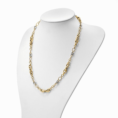 14k Yellow and White Gold Fancy Link 26 inch Necklace By Leslies.