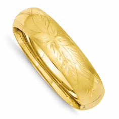 14k Yellow Gold 17mm Florentine Engraved Hinged Bangle