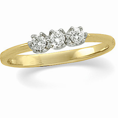 14k Yellow Gold 3-Stone Diamond Ring, 1/3ct.