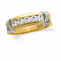14K Yellow Gold Two Tone 1/2 CT Diamond Anniversary Band