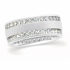 14k Yellow or White Gold Diamond Eternity Anniversary Band