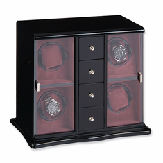 Black Gloss Finish Vertical 4-Watch Watch Winder