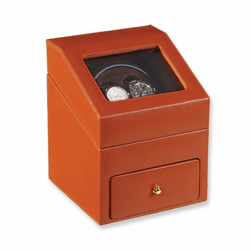 Black or Brown Genuine Leather One Drawer Double Watch Winder