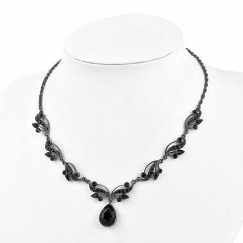 Downton Abbey Black-Plated Swarovski Crystal And Crystal Fancy Necklace