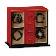 Blonde Burlwood Gloss Finish Vertical 4-Watch Watch Winder