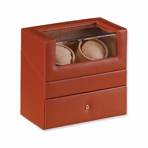 Brown Genuine Leather Double Watch WInder