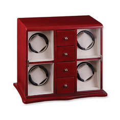Cherry Matte Finish Vertical 4-Watch Watch Winder
