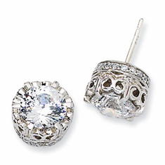 Cheryl M Collection Sterling Silver 100-facet CZ Round Post Earrings