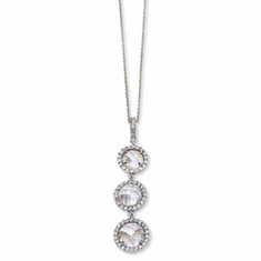 Cheryl M Collection Sterling Silver Checker-cut CZ 3-stone 18in Necklace