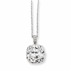 "Cheryl M Collection Sterling Silver CZ 18"" Necklace"