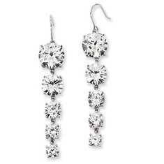 Cheryl M Collection Sterling Silver CZ 5-Stone Dangle Earrings