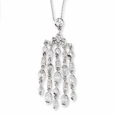 "Cheryl M Collection Sterling Silver CZ Chandelier 18"" Necklace"