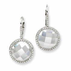 Cheryl M. Collection  Sterling Silver CZ Circle Dangle Earrings