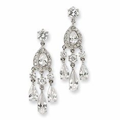 Cheryl M Collection Sterling Silver CZ Dangle Post Earrings