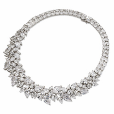 Cheryl  M Collection Sterling Silver CZ Fancy 15in Collar Necklace