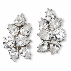 Cheryl M Collection Sterling Silver CZ Fancy Omega Back Earrings