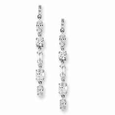 Cheryl M. Collection Sterling Silver CZ Multi-shape Dangle Post Earrings