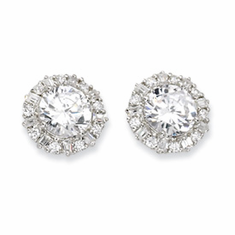 Cheryl M Collection Sterling Silver CZ Post Earrings