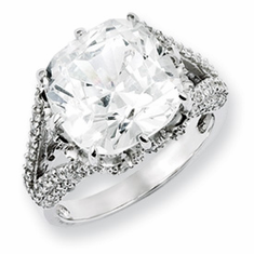 Cheryl M Collection Sterling Silver CZ Ring