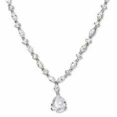 Cheryl M Collection Sterling Silver Pear CZ 17in Necklace