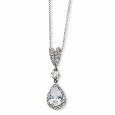 Cheryl M. Collection Sterling Silver Pear CZ 18in Necklace